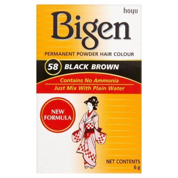 Bigen Permanent Powder Hair Colour Nr. 58 Black Brown 6 g